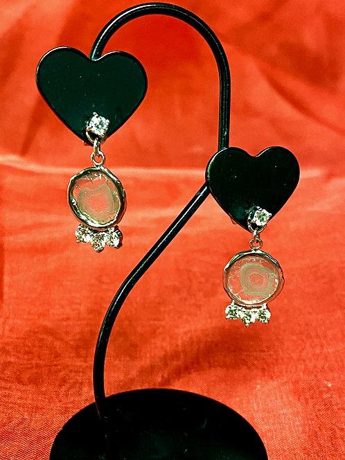 Pt 900 & K18 white gold Diamond pierced Earrings