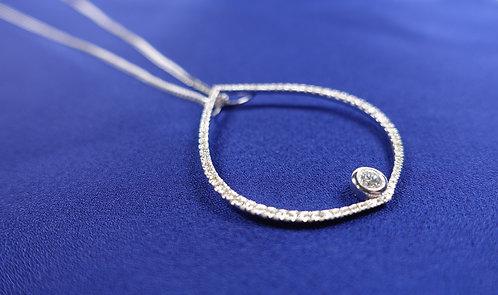 K18 White Gold Diamond Pendant Necklace