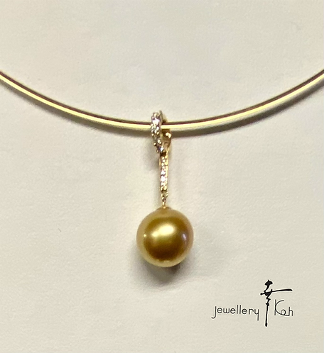 K18  Golden Southsea Pearl Pendant