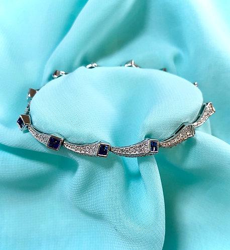 K18 white gold Dia & Sapphire Bracelet