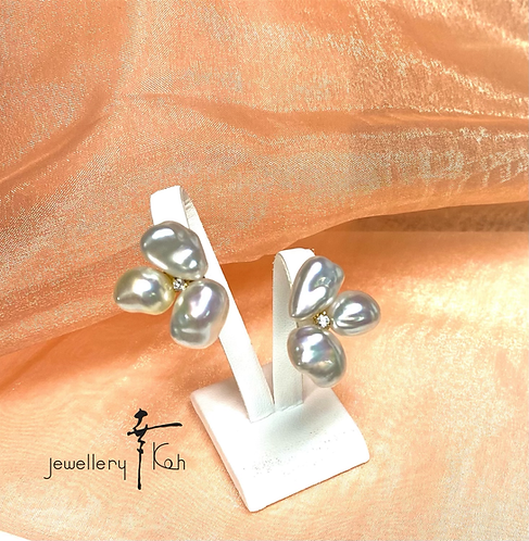 K18 South Sea Natural Pearl Earrings