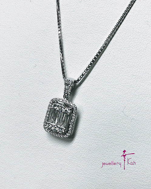 Pt 950 Diamond Pendant( total of 1.01 ct) with Pt 850 chain