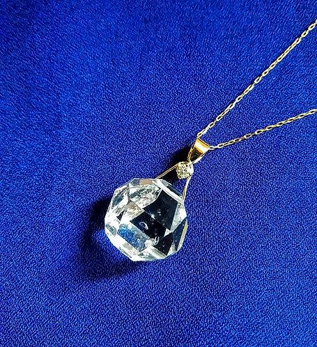 K18 Gold Herkima Diamond (Rough Crystal) & Dia Pendant