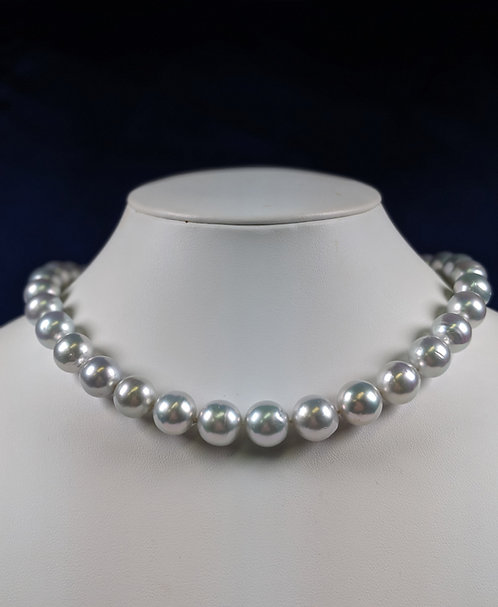 South Sea Pearl Necklace, 10.5-12.5 mm,Natural color Blue gray