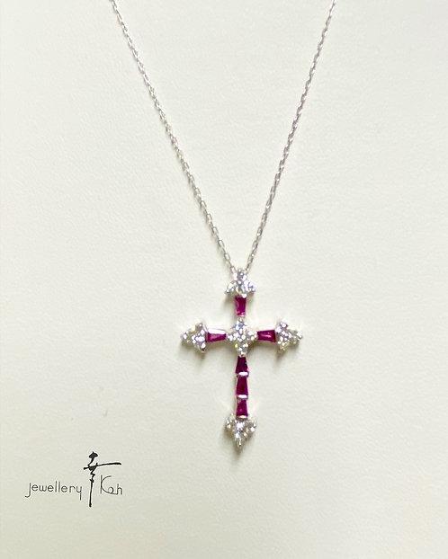 Dia & Ruby Cross Pendant