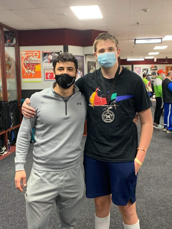 Konstantine Vaysbukh with Coach Marat Israelian at 2020 October Mission RJCC Tournament