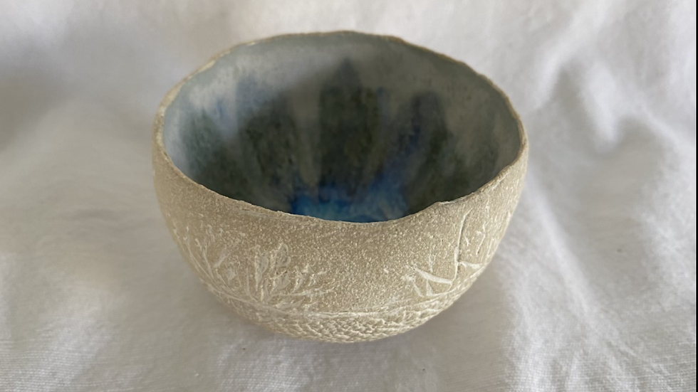 Globe Vessel with seedheads imprints.