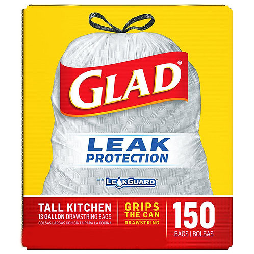 GLAD LEAK Protection 150 BAGS TALL KITCHEN 13 GAL