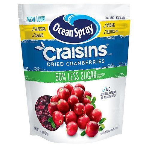 Craisins Dried Cranberries 50% LESS Sugar Ocean Spray 43 oz