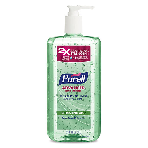 Purell Advanced Lills 99.9% Refreshing Gel 2X sanitizing  33.8oz