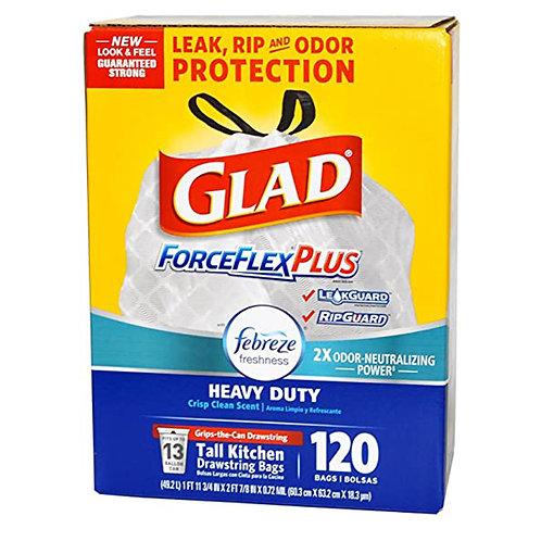 Glad 13-Gal. Febreze ForceFlexPlus Plastic 2x Trash Bags, 120 ct.