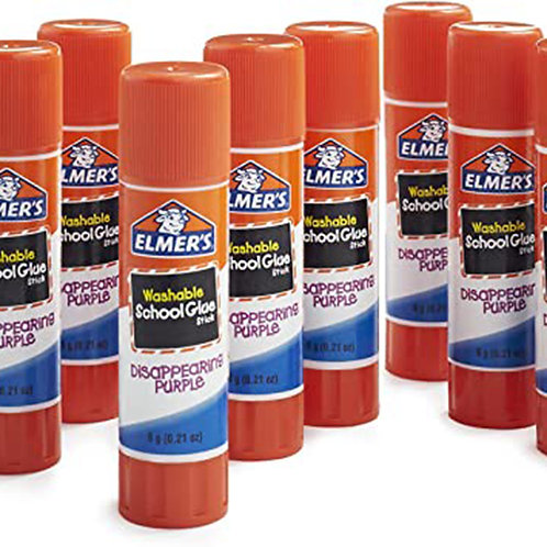 Elmers - 6 All Purpose + 6 Disappearing Purple Glue Sticks Teacher's 0.21oz