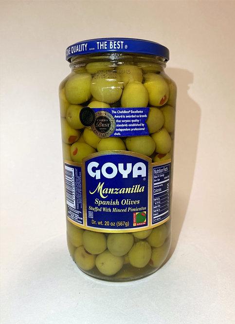 GOYA Manzanilla Spanish Olives Stuffed with Minced Pimientos 20 oz