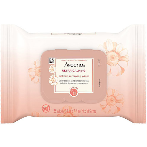 Aveeno ultra-calming makeup removing wipes 25ct