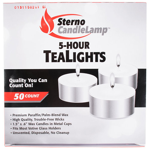 Sterno CandleLamp 5-Hour TeaLights 50 count