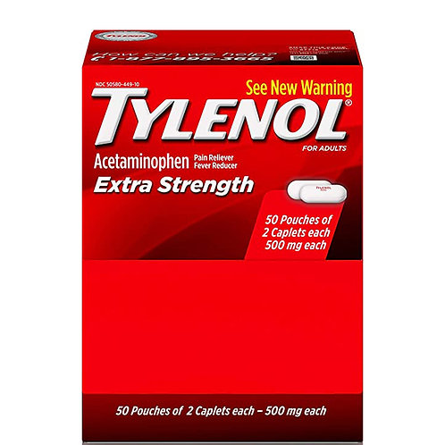Tylenol Acetaminophen Pain Reliever Fever Reducer Extra Strength, 2 Caplets Each