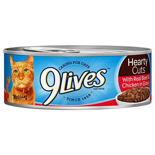 9Lives Cat Food Hearty Cuts With Real Chicken& Beef In Gravy, 5.5 Oz