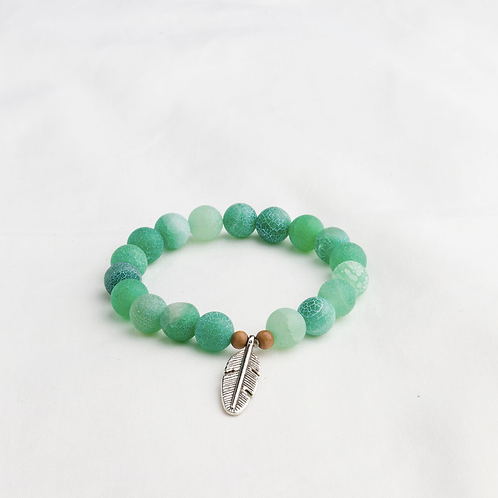 Green Agate Feather Bracelet