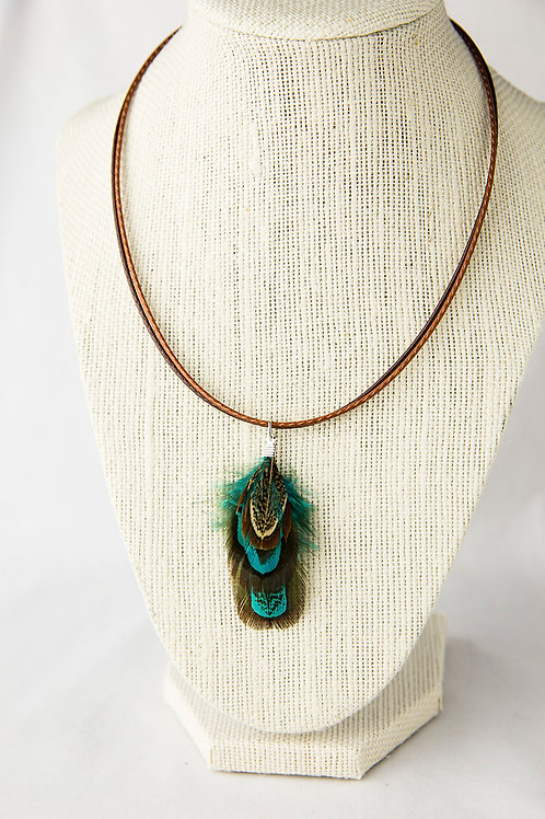 Feather Necklace - Double Leather Cord
