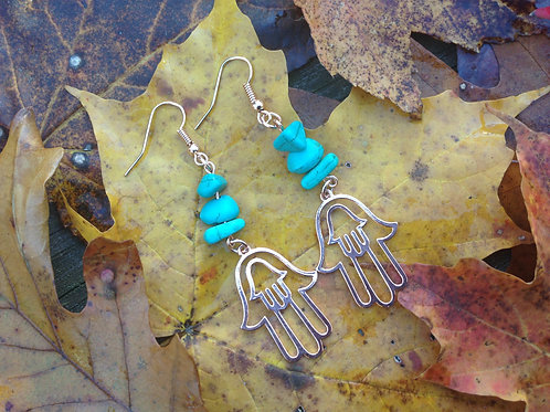 Rose Gold and Turquoise Stone Earrings