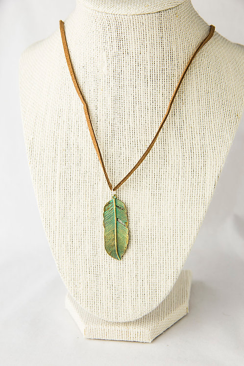 Antiqued Feather Necklace