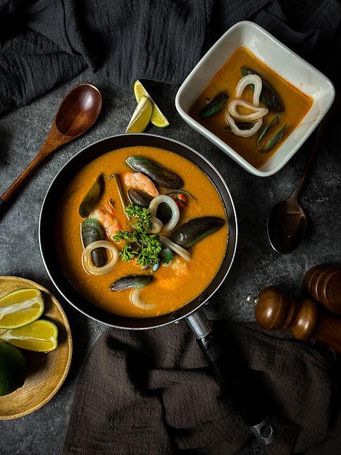 Seafood laksa soup