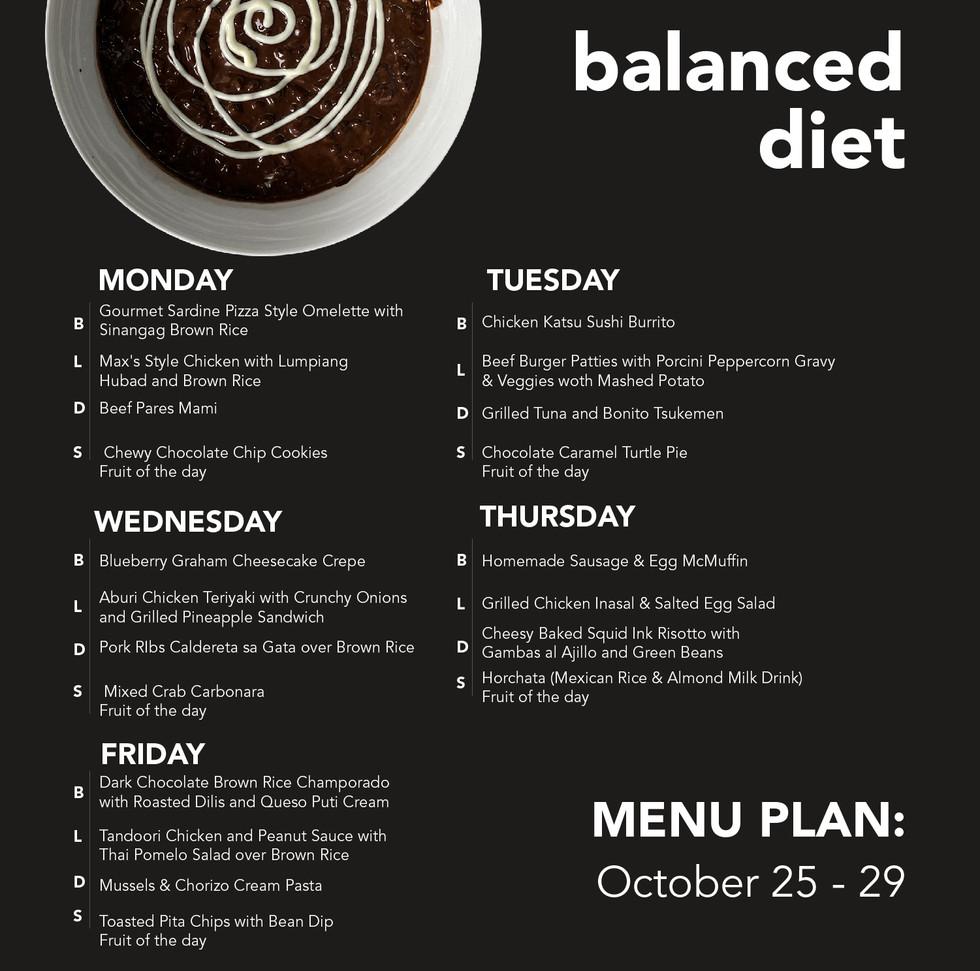 Balanced Diet Menu