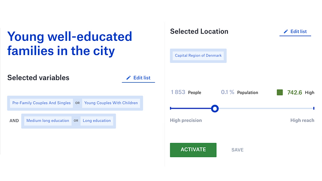 Build audience. Selected variables. Selected Location.