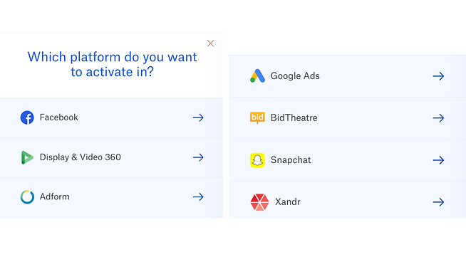 Activate audience. List of platforms to chose to activate in. Logos of platforms.