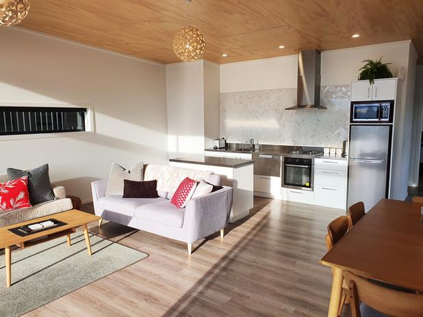 Morning sun in open plan living area