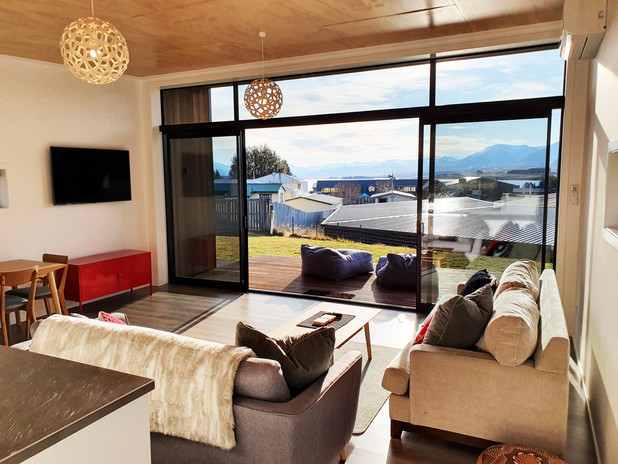 Open plan lounge with heat pump