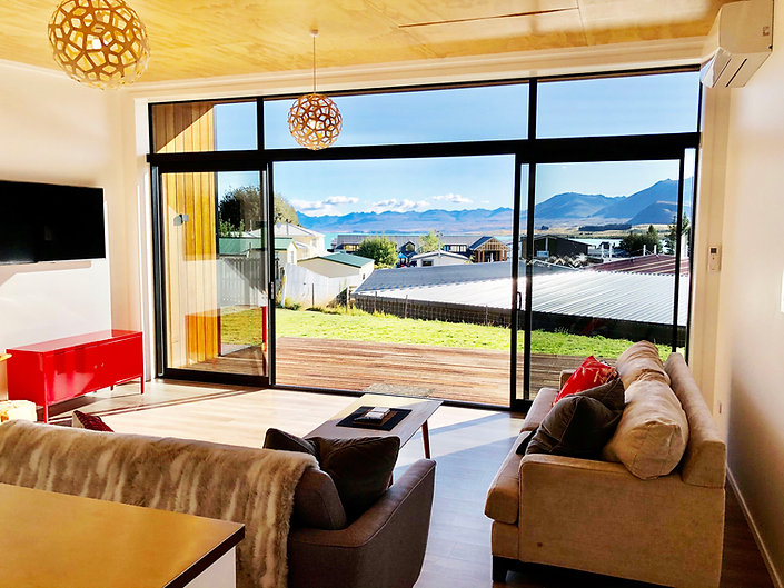 Dark Sky Villas: Waiti Villa A. View of lake and mountains from the lounge.