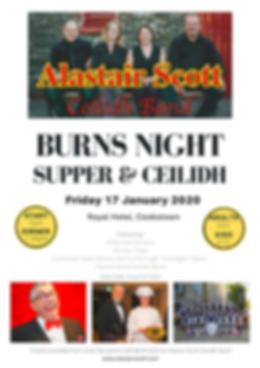 Burns Night Cookstown, Alastair Scott Band, Alister Scott Band, Gary Wilson, Tullylagan Pipe Band, Royal Hotel, Haggis, Robert Burns