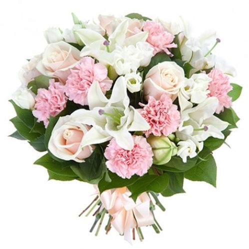 Букет из роз, гвоздик, лилии, эустомы (37 шт.)