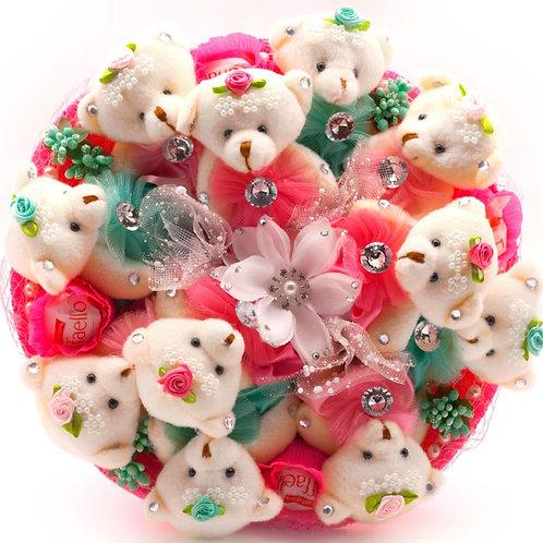 """Букет - 11 мишек, 1 заколка, конфеты """"Рафаэлло"""""""