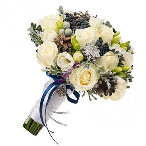 Букет невесты из роз, брунии, эустомы