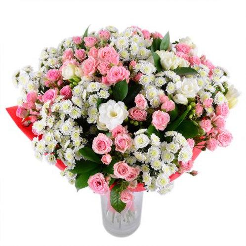 Букет из роз, хризантемы, фрезии (29 шт.)