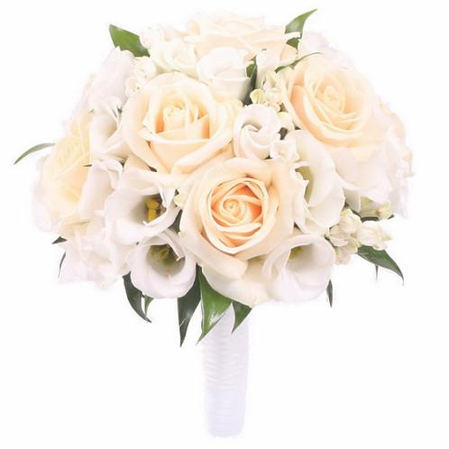 Букет невесты из роз и лизиантуса