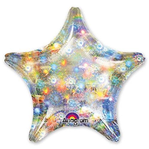 "Шарик блеск 19"" звезда Fireworks"