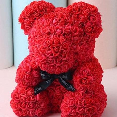 Мишка из красных 3D роз (40см)
