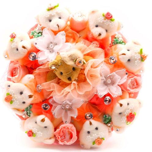 """Букет - 9 мишек, 7 заколок, конфеты """"Рафаэлло"""""""