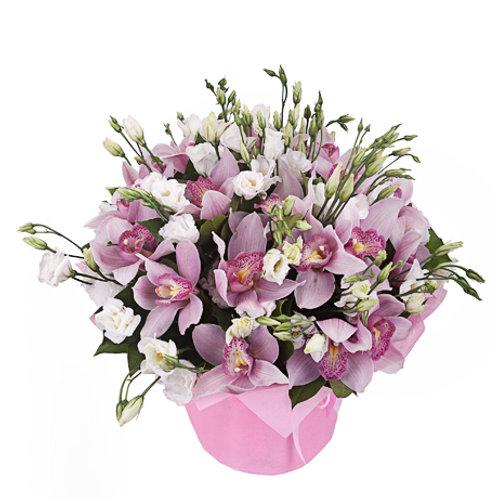 Букет из орхидеи и эустомы (25 шт.)