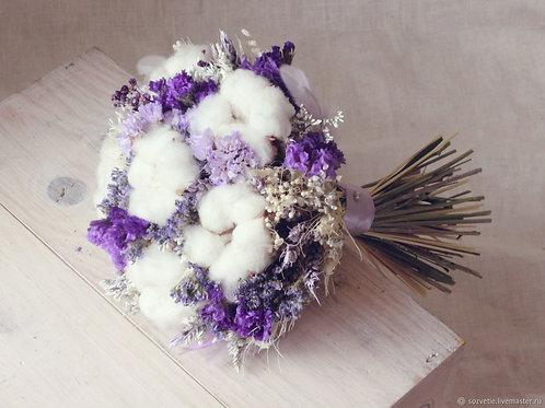 Счастливый степной с хлопком (букет невесты из сухоцветов)