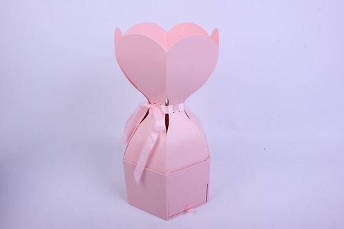 """Подарочная коробка одиночная Шестигранник """"Трюфель"""" с ящичком Розовый d=18, h=12"""