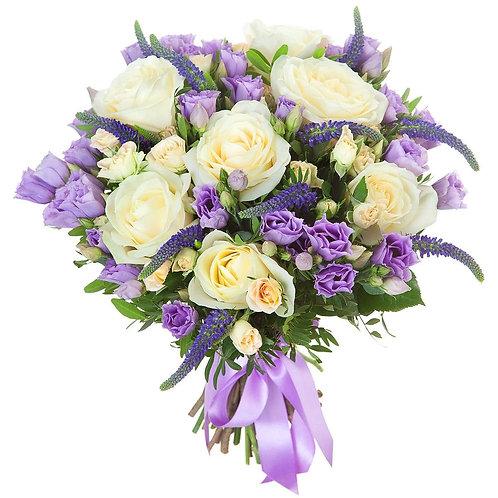 Букет из розы, эустомы, вероники (39 шт.)