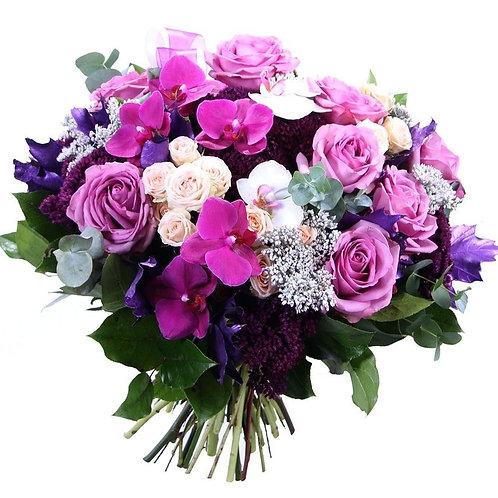 Букет из роз, орхидей, кустовых роз (39 шт.)