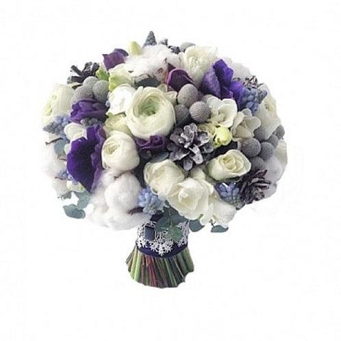 Букет невесты из роз, фрезий, лизиантуса, анемона