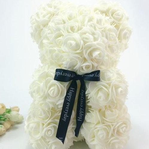 Мишка из белых 3D роз (20см)