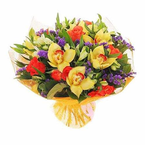 Букет из роз, орхидей, альстромерий, лимониума (37 шт.)
