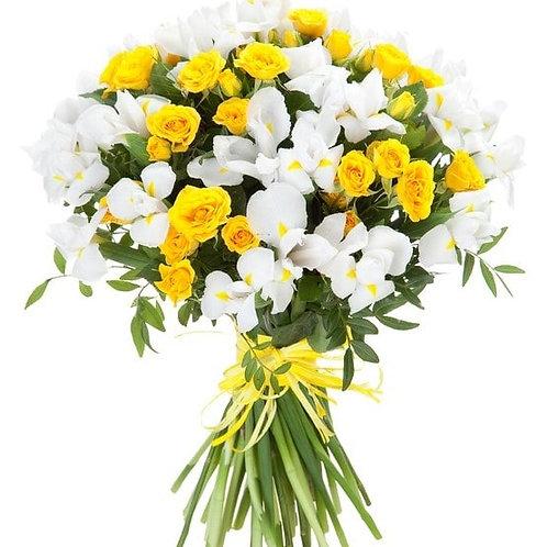 Букет из ириса и роз (39 шт.)